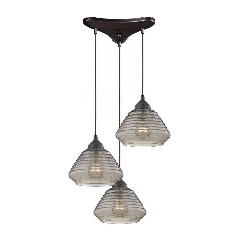 ELK Lighting Orbital 3 Light Pendant In Oil Rubbed Bronze And Smoke Glass (10434/3)