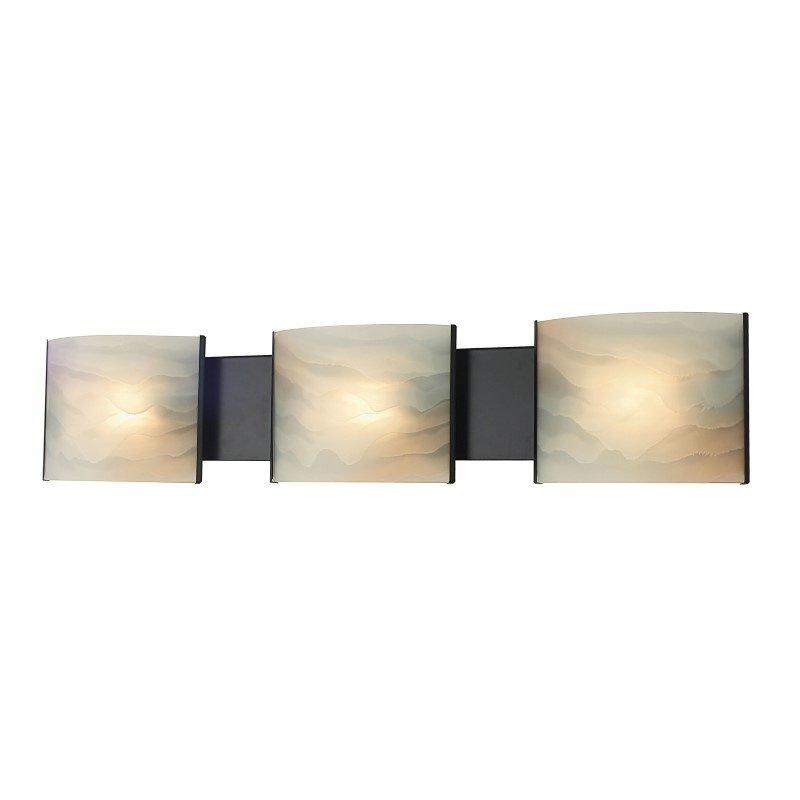 ELK Lighting Pannelli 3 Light Vanity In Oil Rubbed Bronze And Hand-Moulded Honey Alabaster Glass (BV713-HM-45)