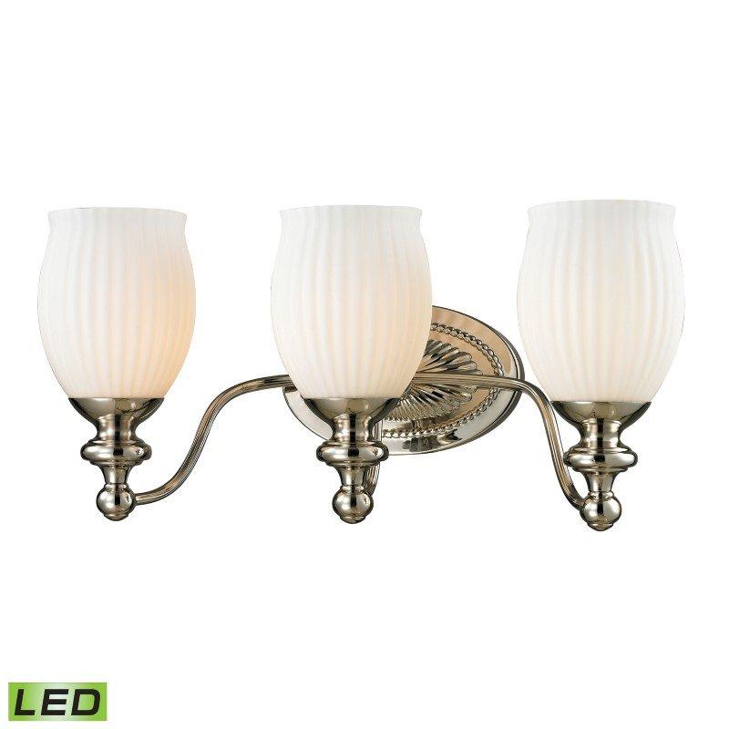 ELK Lighting Park Ridge 3 Light LED Vanity In Polished Nickel And Reeded Glass (11642/3-LED)