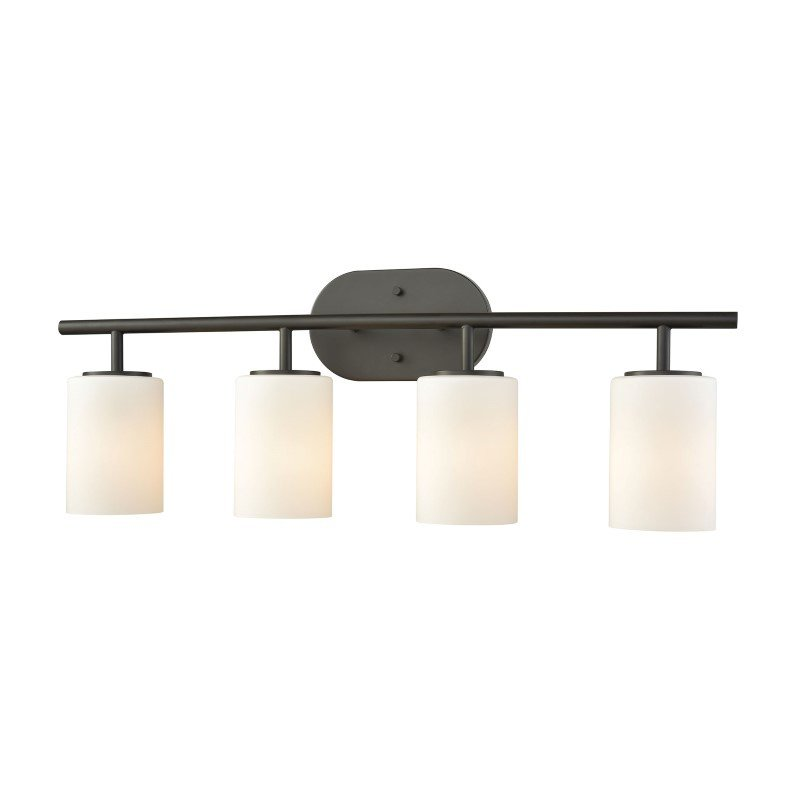 ELK Lighting Pemlico 4 Light Vanity in Oil Rubbed Bronze with White Glass (57143/4)