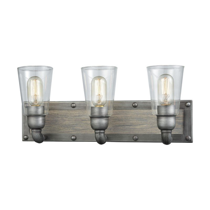 ELK Lighting Platform 3 Light Vanity in Weathered Zinc with Washed Wood And Clear Glass (14472/3)