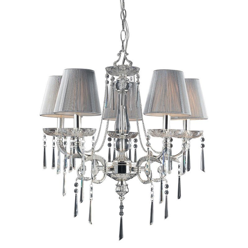 ELK Lighting Princess 5 Light Chandelier In Polished Silver With Silk String Shades (2396/5)