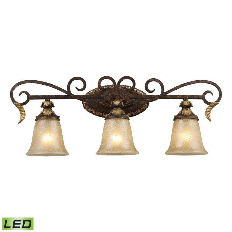 ELK Lighting Regency 3 Light LED Vanity In Burnt Bronze And Gold Leaf (2152/3-LED)