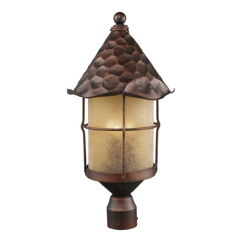 ELK Lighting Rustica 3 Light Outdoor Post Lamp In Antique Copper And Amber Scavo Glass (389-AC)