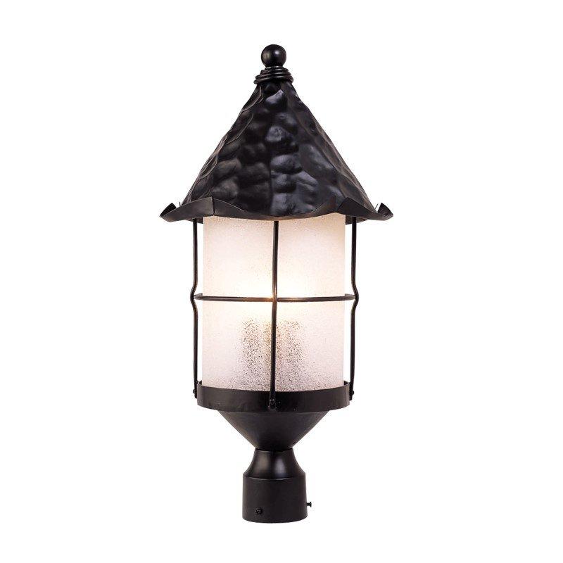 ELK Lighting Rustica 3 Light Outdoor Post Lamp In Matte Black And Scavo Glass (389-BK)