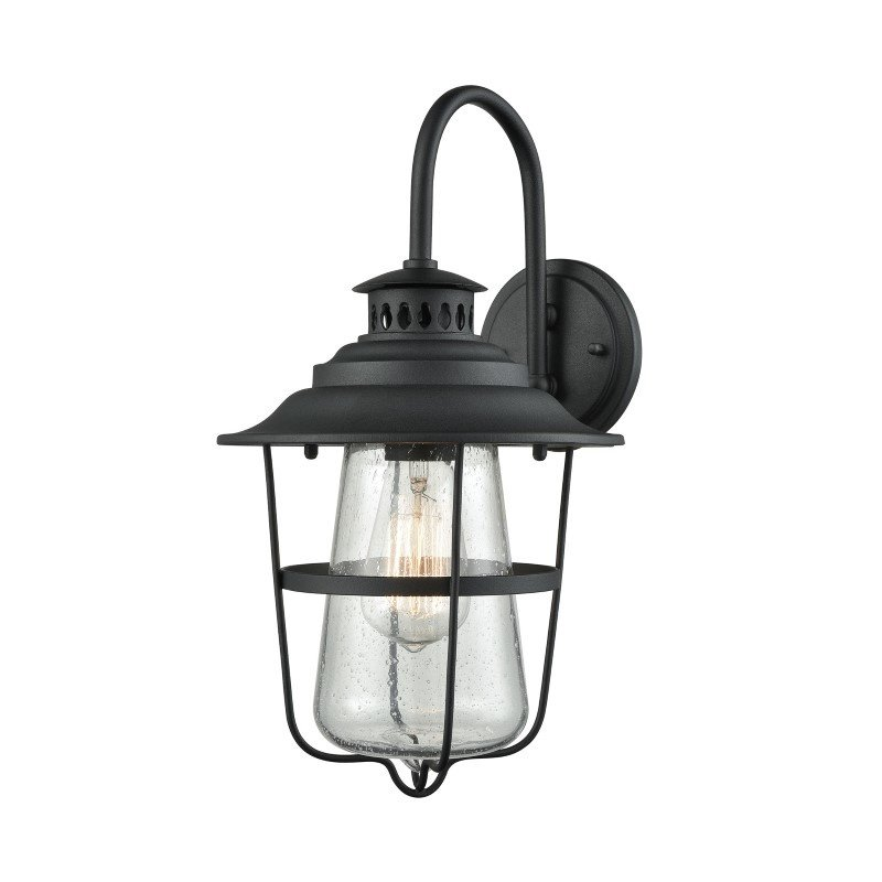 ELK Lighting San Mateo 1 Light Outdoor Wall Sconce in Textured Matte Black with Clear Seedy Glass (45120/1)