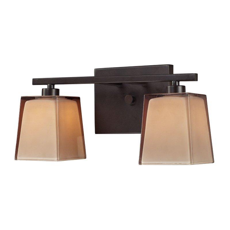 ELK Lighting Serenity 2 Light Vanity In Oiled Bronze And Tan Glass (11437/2)