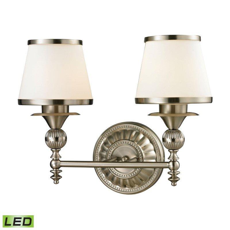 ELK Lighting Smithfield 2 Light LED Vanity In Brushed Nickel And Opal White Glass (11601/2-LED)