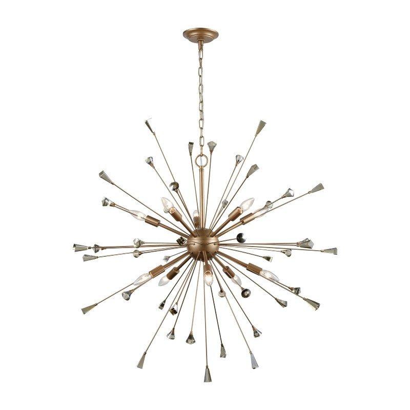 ELK Lighting Sprigny 10 Light Chandelier in Matte Gold with Amber Teak Crystal (33021/10)