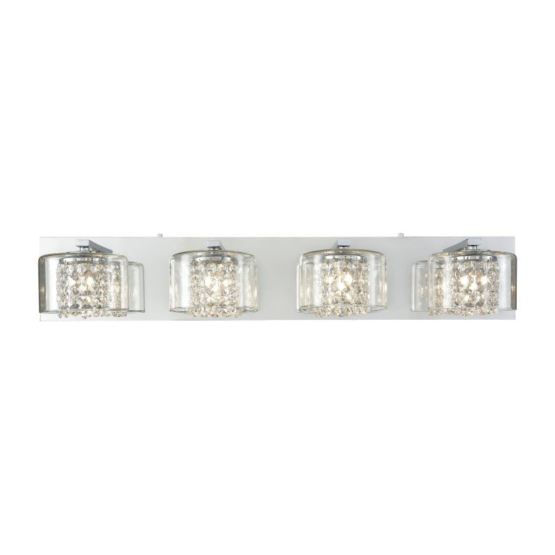 ELK Lighting Springvale 4 Light Vanity in Polished Chrome with Clear Crystal And Glass (32304/4)