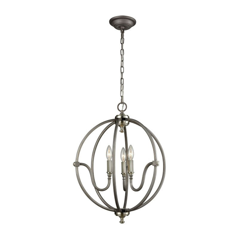 ELK Lighting Stanton 3 Light Chandelier in Weathered Zinc with Brushed Nickel Highlights (11846/3)