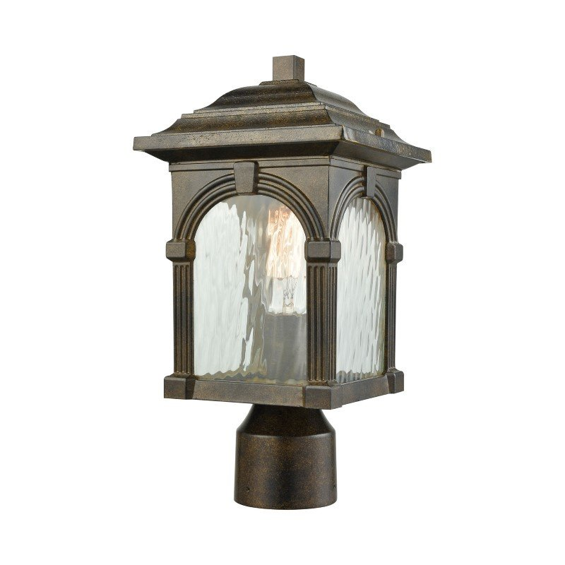 ELK Lighting Stradelli 1 Light Outdoor Post Mount in Hazelnut Bronze with Clear Water Glass (45304/1)