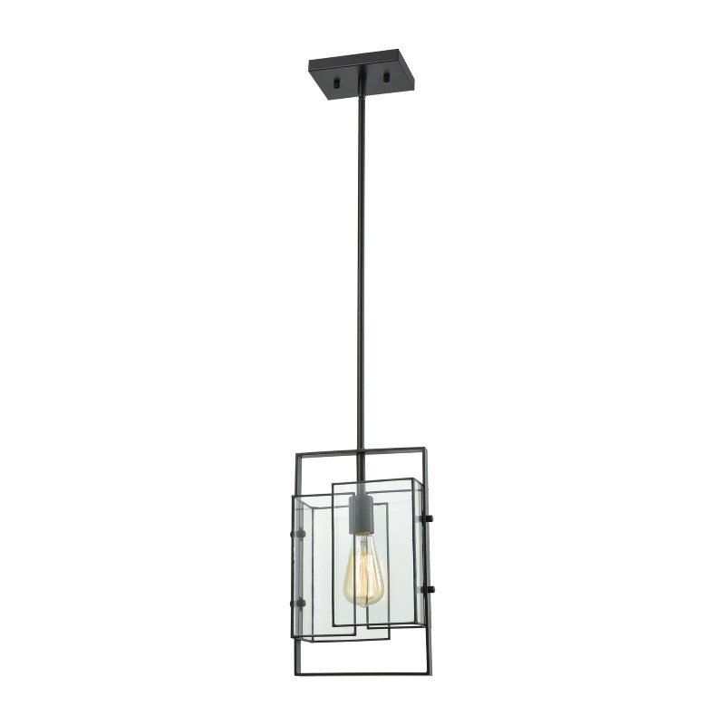 ELK Lighting Stratus 1 Light Pendant in Oil Rubbed Bronze with Clear Glass (72163/1)