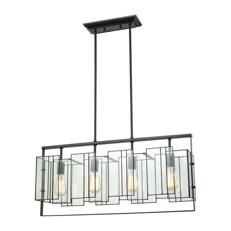 ELK Lighting Stratus 4 Light Chandelier in Oil Rubbed Bronze with Clear Glass (72164/4)