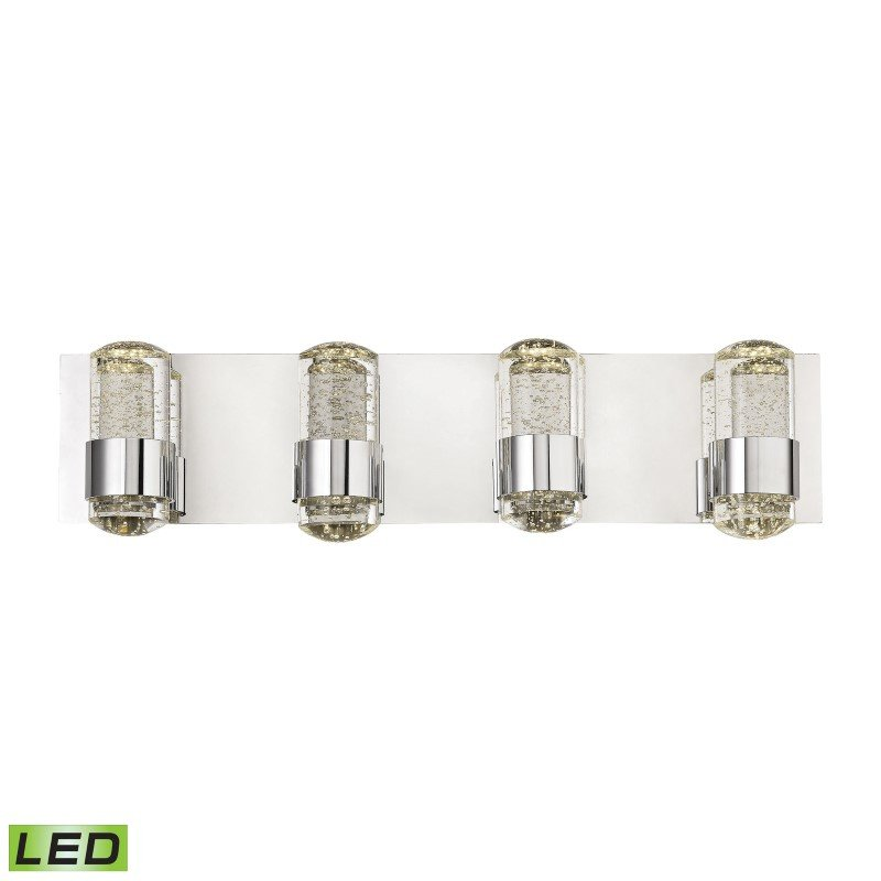 ELK Lighting Surrey 4 Light LED Vanity In Chrome And Bubbled Glass (BVL154-0-15)
