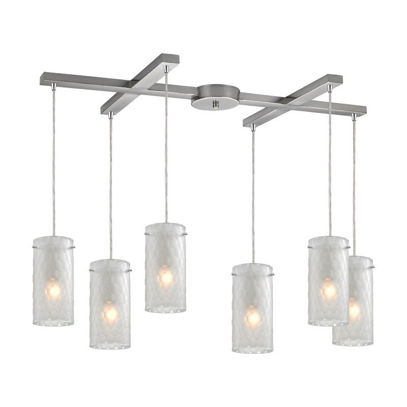 ELK Lighting Synthesis 6 Light Pendant In Satin Nickel And Frosted Clear Glass (10243/6FC)