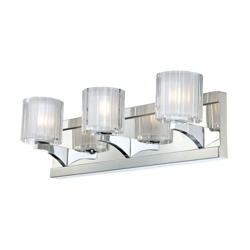 ELK Lighting Tiara 3 Light Vanity In Chrome And Slotted Clear Glass (BV3003-0-15)