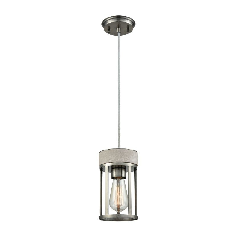 ELK Lighting Urban Form 1 Light Pendant in Black Nickel with Concrete Accent - Includes Recessed Lighting Kit (45336/1-LA)