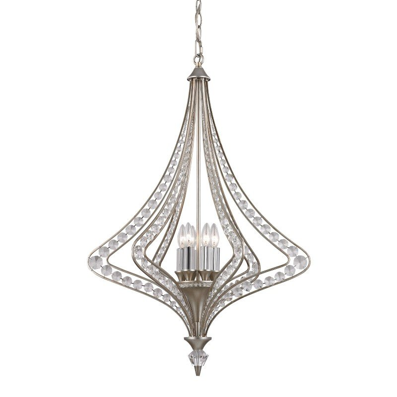 ELK Lighting Ventoux 6 Light Chandelier In Satin Silver And Clear Crystal (46062/6)
