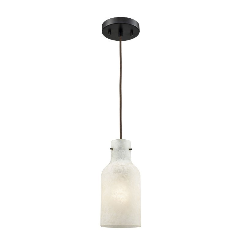 ELK Lighting Weatherly 1 Light Pendant in Oil Rubbed Bronze with Chalky White Glass (45365/1)