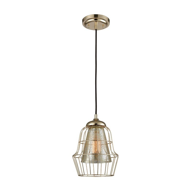 ELK Lighting Yardley 1 Light Pendant in Polished Gold with Mercury Glass - Includes Recessed Lighting Kit (14266/1-LA)