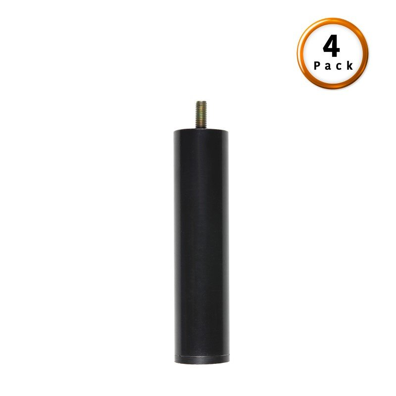 "Fashion Bed Group 4"" Metric Thread Black Cylinder Legs - 4-Pack"