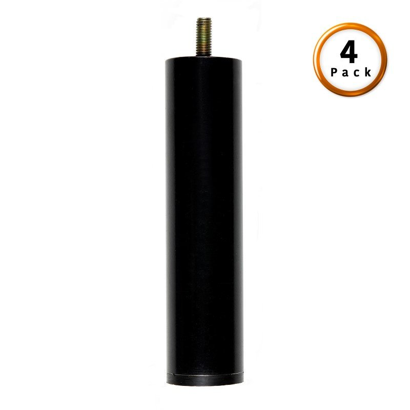 """Fashion Bed Group 6"""" Metric Thread Black Cylinder Legs - 4-Pack"""