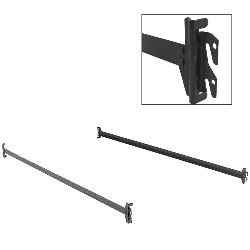 Fashion Bed Group 75-Inch 140H Black Bed Frame Side Rails with Hook-On Brackets for Headboards and Footboards - Twin/Full