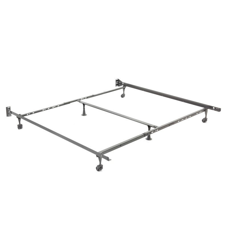 """Fashion Bed Group Adjust-A-Matic U36R Universal Bed Frame with Reversible Headboard Brackets and 2"""" Locking Rug Rollers - Twin/King"""
