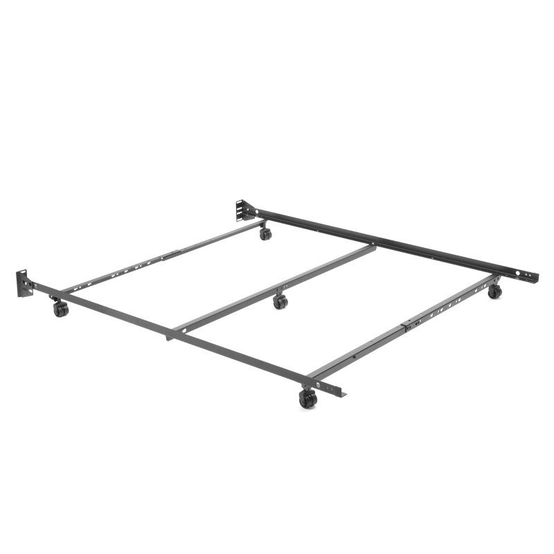 """Fashion Bed Group Adjustable Q46R-LP Low Profile Bed Frame with Keyhole Cross Arms and (5) 2"""" Locking Rug Roller Legs - Full/Queen"""