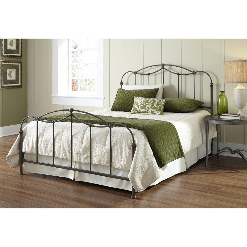Fashion Bed Group Affinity Complete Bed with Metal Spindle Panels and Detailed Castings - Blackened Taupe Finish - Queen