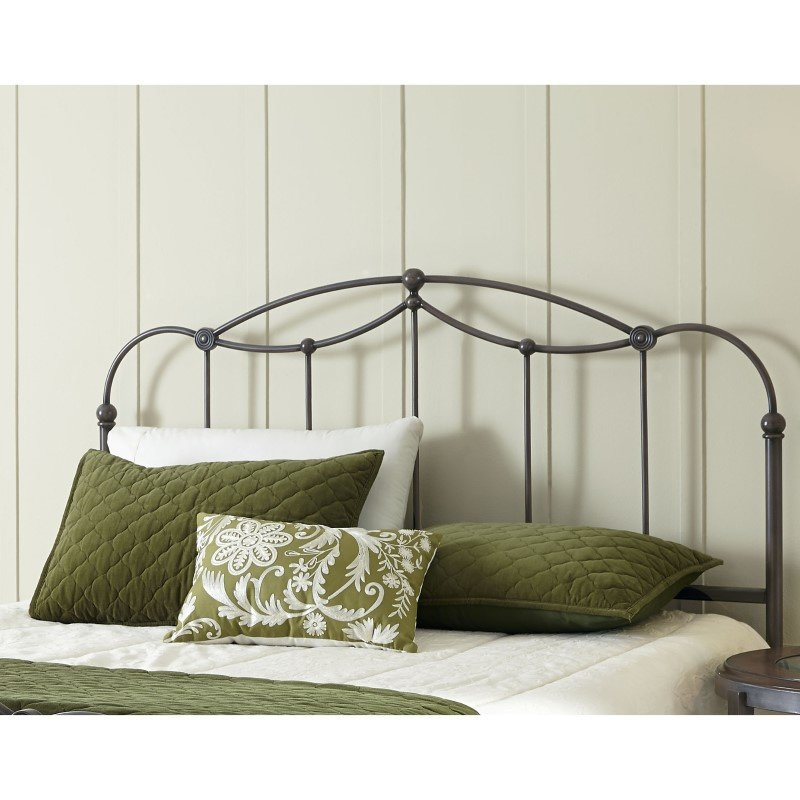 Fashion Bed Group Affinity Metal Headboard Panel with Straight Spindles and Detailed Castings - Blackened Taupe Finish - California King