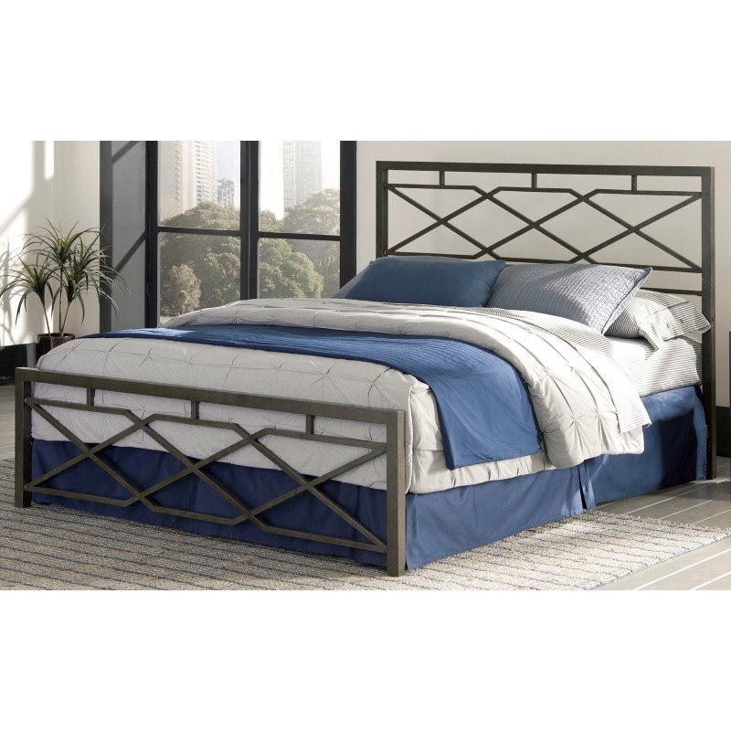 Fashion Bed Group Alpine Snap Bed with Geometric Panel Design and Folding Metal Side Rails - Rustic Pewter Finish - Queen