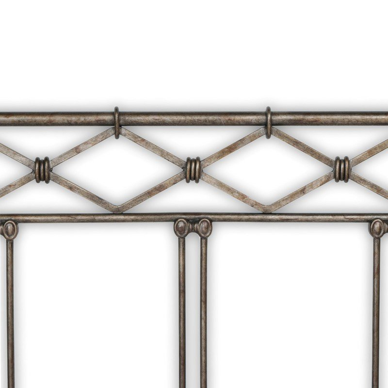 Fashion Bed Group Argyle Complete Bed with Round Finial Posts and Diamond Wire Metal Grill Design - Copper Chrome Finish - King
