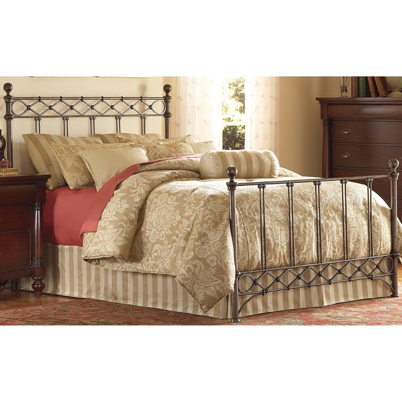Fashion Bed Group Argyle Complete Bed with Round Finial Posts and Diamond Wire Metal Grill Design - Copper Chrome Finish - Queen