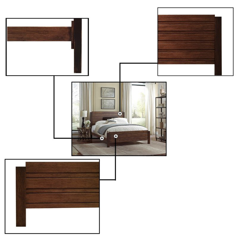 Fashion Bed Group Arlington Platform Bed with Metal Duo Panels and Wood Slat Design - Whiskey Finish - California King
