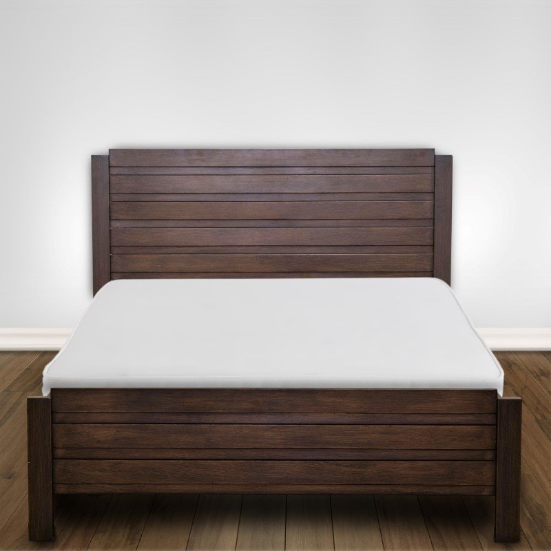 Fashion Bed Group Arlington Platform Bed with Metal Duo Panels and Wood Slat Design - Whiskey Finish - Full