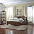 Fashion Bed Group Arlington Platform Bed with Metal Duo Panels and Wood Slat Design - Whiskey Finish - Queen