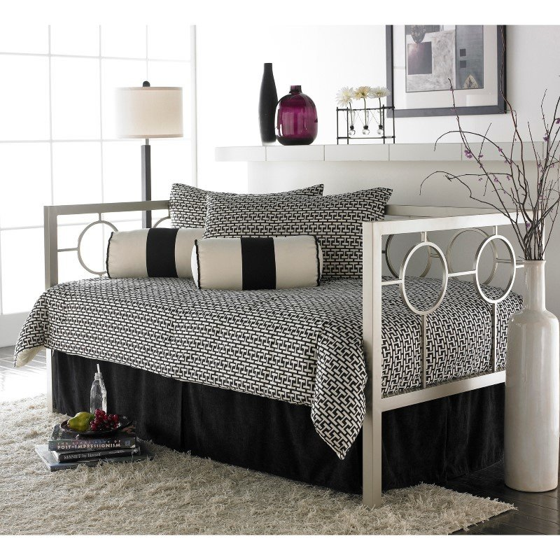 Fashion Bed Group Astoria Metal Daybed Frame with Circle Design Panels and Perfect Square Profile - Matte Black Finish - Twin