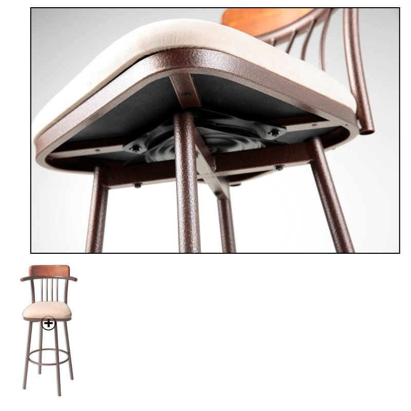 Fashion Bed Group Augusta Metal Barstool with Wheat Microfiber Swivel-Seat and Hammered Copper Frame Finish - 30-Inch