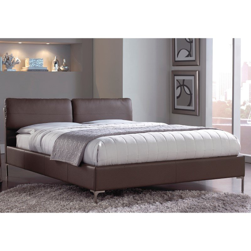 Fashion Bed Group Aurora Platform Bed with Adjustable Headboard Cushions and Faux Leather Upholstery - Greige Brown Finish - California King