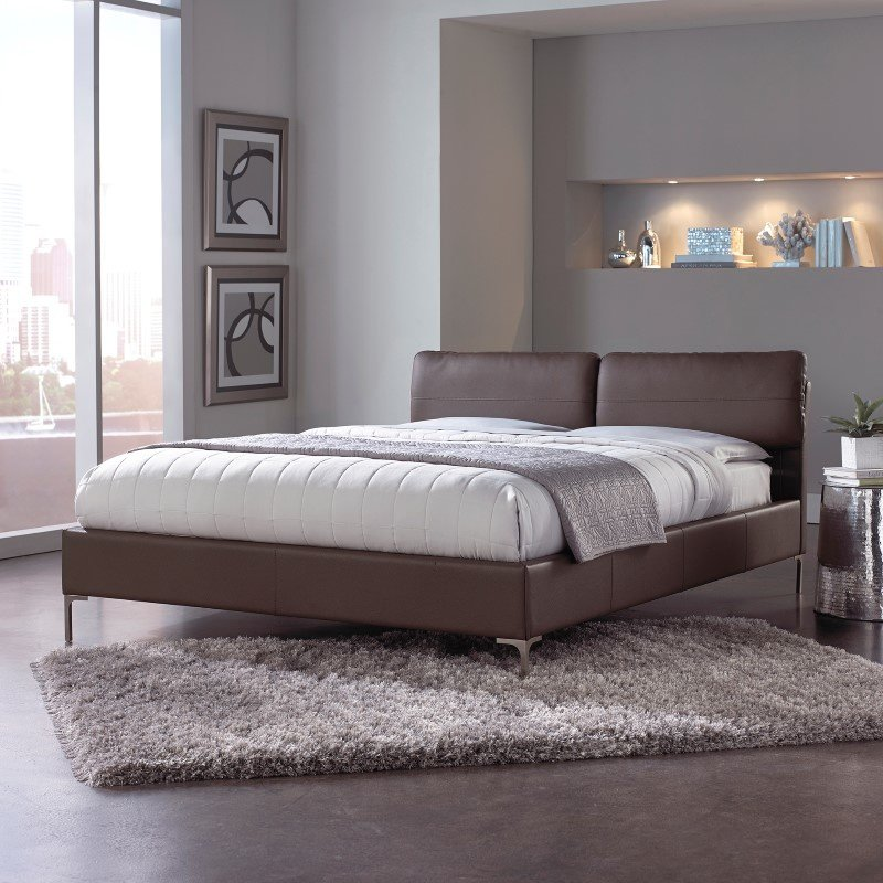 Fashion Bed Group Aurora Platform Bed with Adjustable Headboard Cushions and Faux Leather Upholstery - Greige Brown Finish - Queen