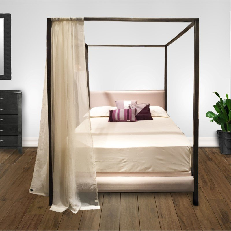 Fashion Bed Group Avalon Canopy Platform Bed with Platinum Upholstered Headboard and 80-Inch Bed Posts - Slate Finish - Queen