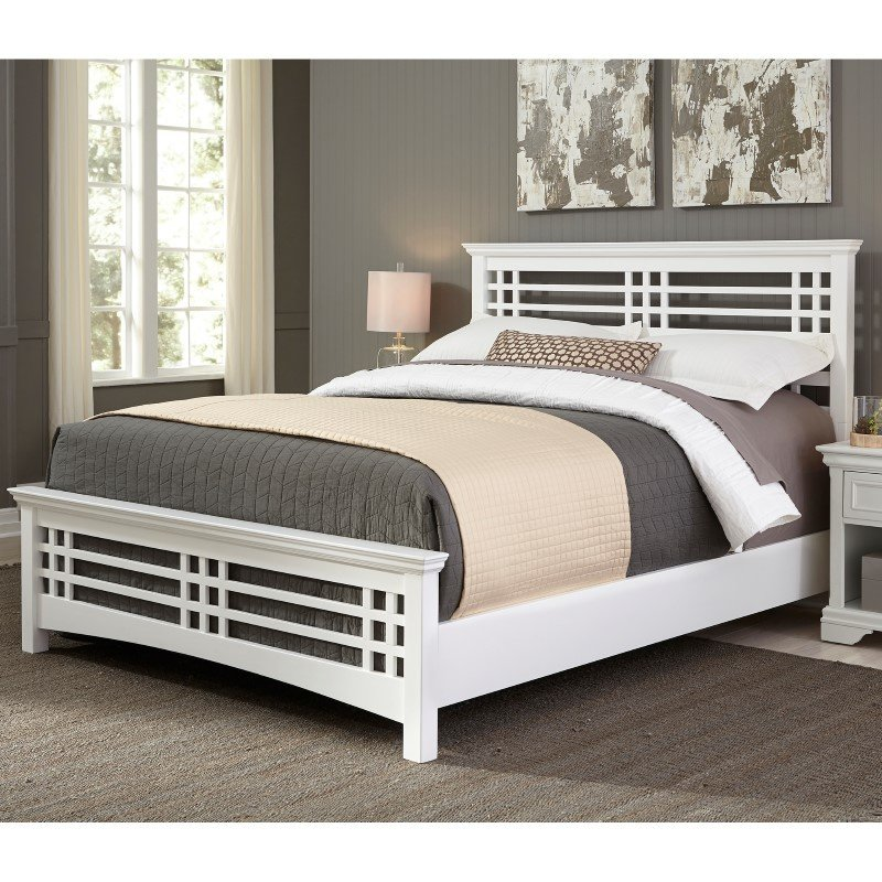 Fashion Bed Group Avery Complete Bed with Wood Frame and Mission Style Design - Cottage White Finish - Full