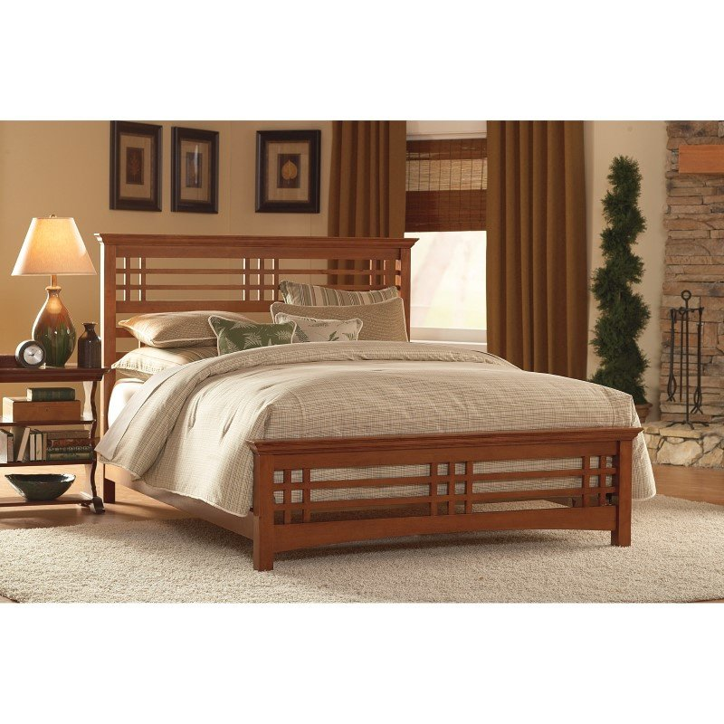 Fashion Bed Group Avery Complete Bed with Wood Frame and Mission Style Design - Oak Finish - Queen