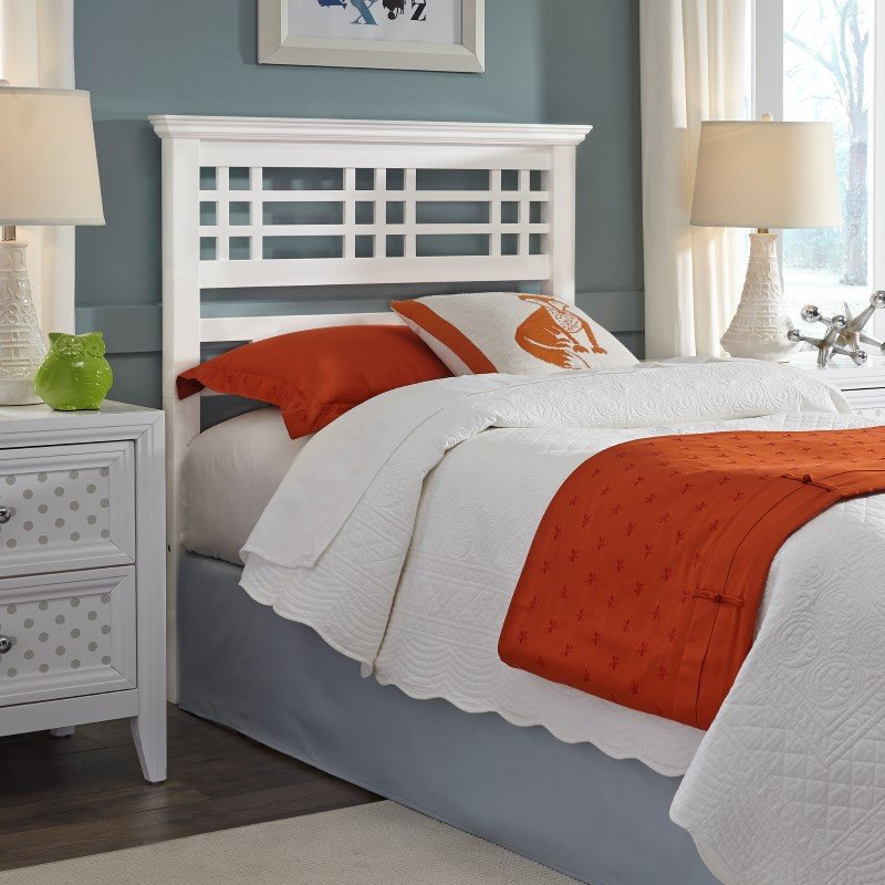 Fashion Bed Group Avery Wooden Headboard with Mission Style Design - Cottage White Finish - Twin
