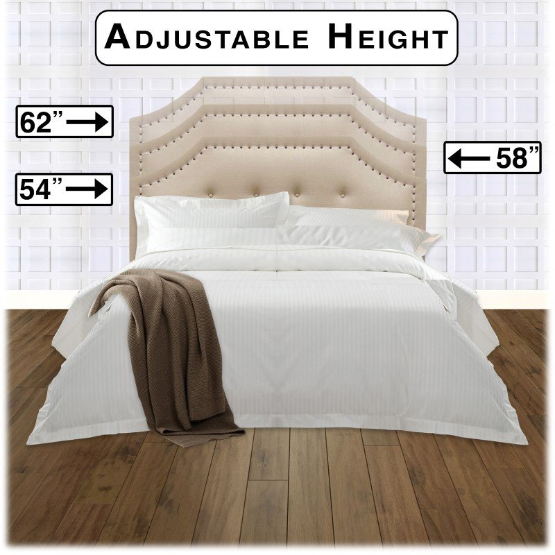 Fashion Bed Group Avignon Upholstered Adjustable Headboard with Button Tufting and Contrast Tape Nail head Trim - Linen Natural Finish - King/California King