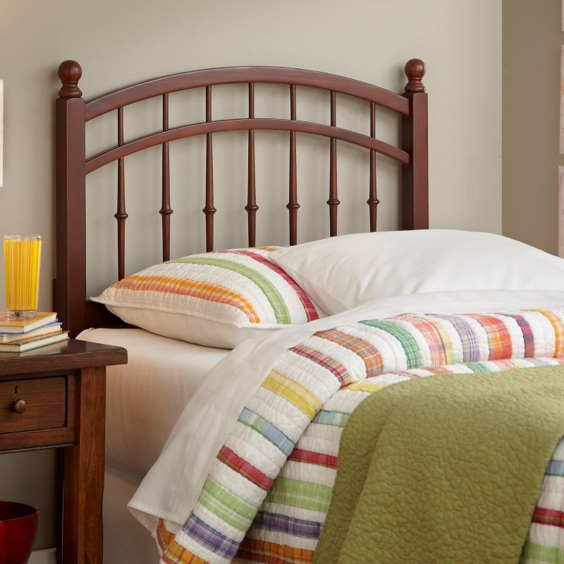 Fashion Bed Group Bailey Wooden Headboard Panel with Intricate Spindles and Round Post Finials - Oak Finish - Twin