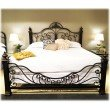 Fashion Bed Group Baroque Complete Bed with Massive Cast Metal Grills and Decorated Sloping Side Rails - Gilden Slate Finish - King