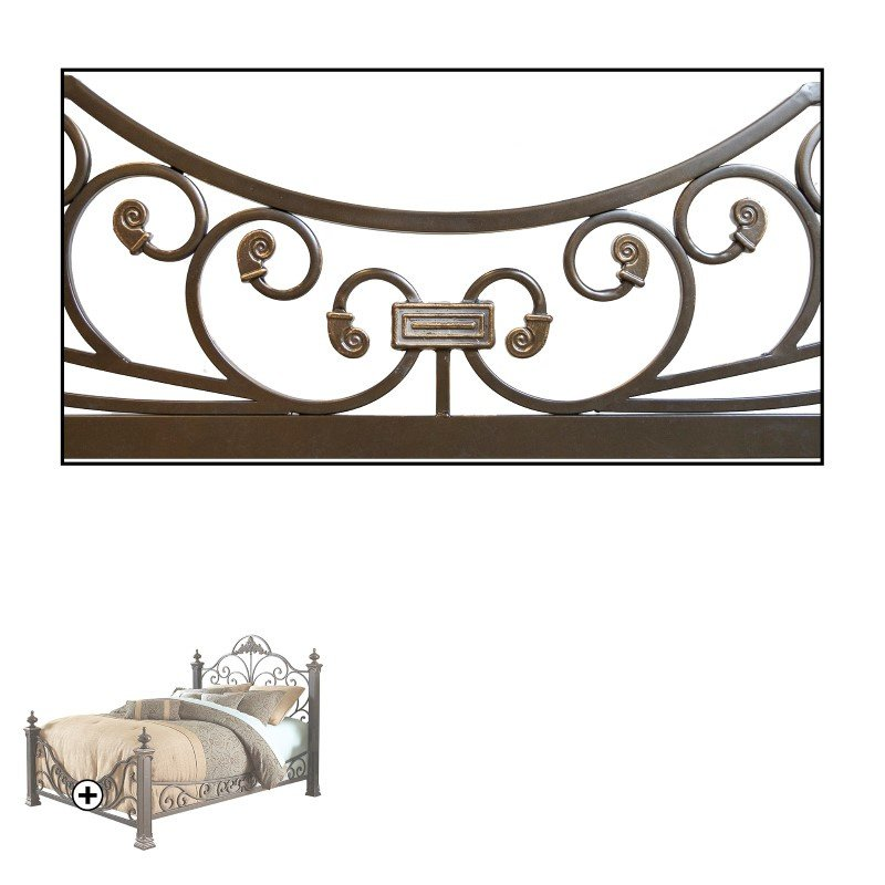 Fashion Bed Group Baroque Complete Bed with Massive Cast Metal Grills and Decorated Sloping Side Rails - Gilden Slate Finish - Queen